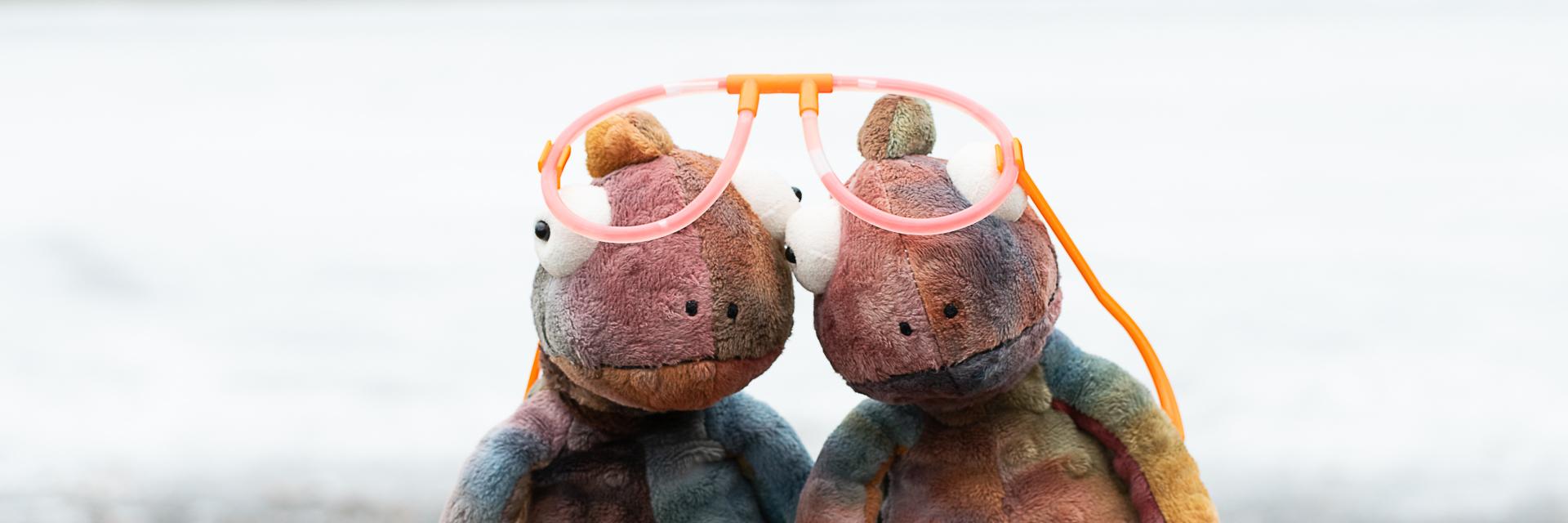 Kaksi kameleonttia isojen silmälasien kanssa